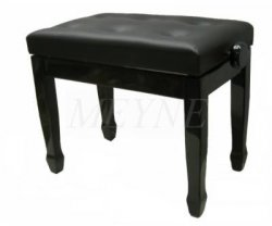 Pianobank schwarz poliert Skai schwarz
